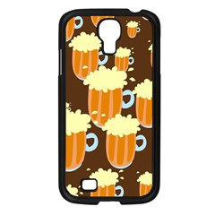 A Fun Cartoon Frothy Beer Tiling Pattern Samsung Galaxy S4 I9500/ I9505 Case (black) by Nexatart