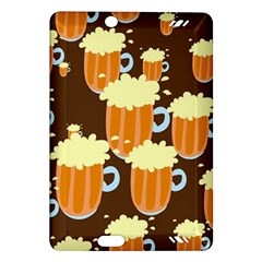 A Fun Cartoon Frothy Beer Tiling Pattern Amazon Kindle Fire Hd (2013) Hardshell Case by Nexatart