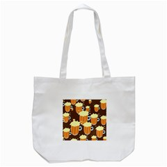 A Fun Cartoon Frothy Beer Tiling Pattern Tote Bag (white) by Nexatart