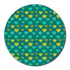 Hearts Seamless Pattern Background Round Mousepads by Nexatart