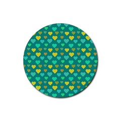 Hearts Seamless Pattern Background Rubber Coaster (round)  by Nexatart