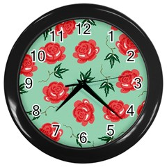 Red Floral Roses Pattern Wallpaper Background Seamless Illustration Wall Clocks (black) by Nexatart