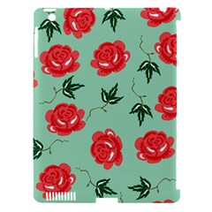 Red Floral Roses Pattern Wallpaper Background Seamless Illustration Apple Ipad 3/4 Hardshell Case (compatible With Smart Cover) by Nexatart