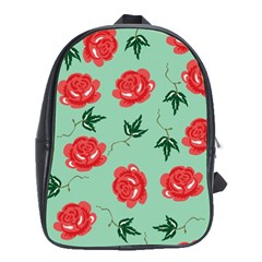 Red Floral Roses Pattern Wallpaper Background Seamless Illustration School Bags (xl)  by Nexatart