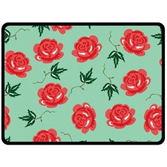 Red Floral Roses Pattern Wallpaper Background Seamless Illustration Double Sided Fleece Blanket (large)  by Nexatart