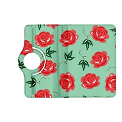 Red Floral Roses Pattern Wallpaper Background Seamless Illustration Kindle Fire Hd (2013) Flip 360 Case by Nexatart