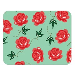 Red Floral Roses Pattern Wallpaper Background Seamless Illustration Double Sided Flano Blanket (large)  by Nexatart
