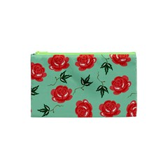 Red Floral Roses Pattern Wallpaper Background Seamless Illustration Cosmetic Bag (xs) by Nexatart
