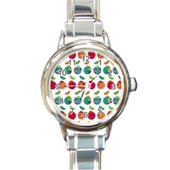 Watercolor Floral Roses Pattern Round Italian Charm Watch by Nexatart