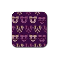 Purple Hearts Seamless Pattern Rubber Square Coaster (4 Pack)  by Nexatart