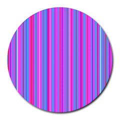 Blue And Pink Stripes Round Mousepads