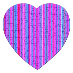 Blue And Pink Stripes Jigsaw Puzzle (heart) by Nexatart