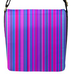 Blue And Pink Stripes Flap Messenger Bag (s) by Nexatart