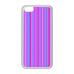 Blue And Pink Stripes Apple Iphone 5c Seamless Case (white) by Nexatart