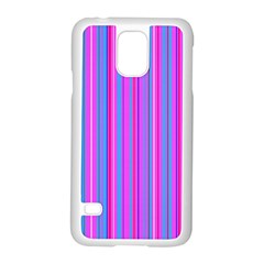 Blue And Pink Stripes Samsung Galaxy S5 Case (white) by Nexatart