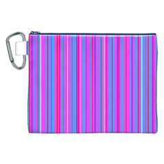Blue And Pink Stripes Canvas Cosmetic Bag (xxl)