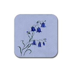 Floral Blue Bluebell Flowers Watercolor Painting Rubber Square Coaster (4 Pack)  by Nexatart