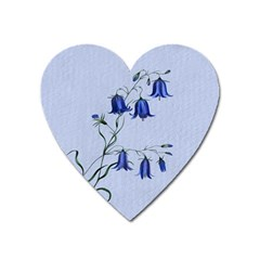 Floral Blue Bluebell Flowers Watercolor Painting Heart Magnet by Nexatart