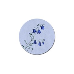 Floral Blue Bluebell Flowers Watercolor Painting Golf Ball Marker by Nexatart