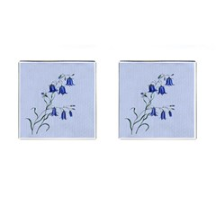 Floral Blue Bluebell Flowers Watercolor Painting Cufflinks (square) by Nexatart