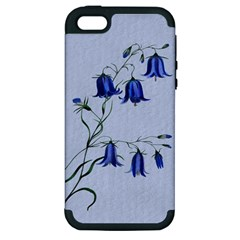 Floral Blue Bluebell Flowers Watercolor Painting Apple Iphone 5 Hardshell Case (pc+silicone) by Nexatart