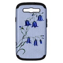 Floral Blue Bluebell Flowers Watercolor Painting Samsung Galaxy S Iii Hardshell Case (pc+silicone) by Nexatart