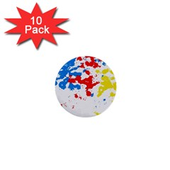 Paint Splatter Digitally Created Blue Red And Yellow Splattering Of Paint On A White Background 1  Mini Buttons (10 Pack)  by Nexatart