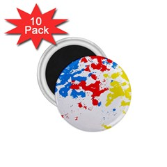 Paint Splatter Digitally Created Blue Red And Yellow Splattering Of Paint On A White Background 1 75  Magnets (10 Pack)  by Nexatart