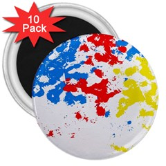 Paint Splatter Digitally Created Blue Red And Yellow Splattering Of Paint On A White Background 3  Magnets (10 Pack)  by Nexatart