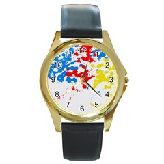 Paint Splatter Digitally Created Blue Red And Yellow Splattering Of Paint On A White Background Round Gold Metal Watch by Nexatart