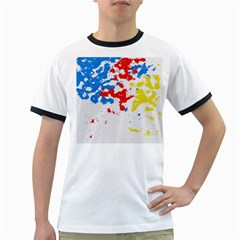 Paint Splatter Digitally Created Blue Red And Yellow Splattering Of Paint On A White Background Ringer T Shirts by Nexatart