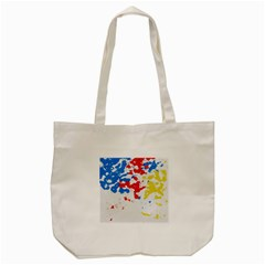 Paint Splatter Digitally Created Blue Red And Yellow Splattering Of Paint On A White Background Tote Bag (cream) by Nexatart