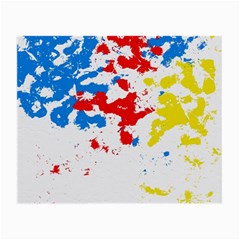 Paint Splatter Digitally Created Blue Red And Yellow Splattering Of Paint On A White Background Small Glasses Cloth by Nexatart