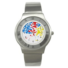 Paint Splatter Digitally Created Blue Red And Yellow Splattering Of Paint On A White Background Stainless Steel Watch by Nexatart