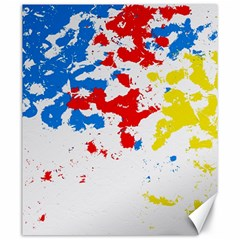 Paint Splatter Digitally Created Blue Red And Yellow Splattering Of Paint On A White Background Canvas 20  X 24   by Nexatart