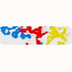 Paint Splatter Digitally Created Blue Red And Yellow Splattering Of Paint On A White Background Large Bar Mats by Nexatart