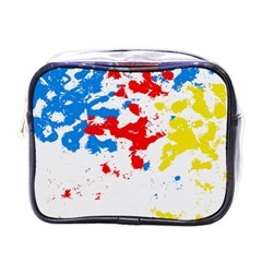 Paint Splatter Digitally Created Blue Red And Yellow Splattering Of Paint On A White Background Mini Toiletries Bags by Nexatart