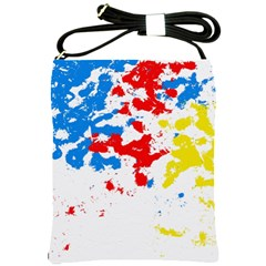 Paint Splatter Digitally Created Blue Red And Yellow Splattering Of Paint On A White Background Shoulder Sling Bags by Nexatart