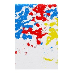 Paint Splatter Digitally Created Blue Red And Yellow Splattering Of Paint On A White Background Shower Curtain 48  X 72  (small)  by Nexatart