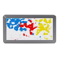 Paint Splatter Digitally Created Blue Red And Yellow Splattering Of Paint On A White Background Memory Card Reader (mini) by Nexatart