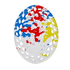 Paint Splatter Digitally Created Blue Red And Yellow Splattering Of Paint On A White Background Oval Filigree Ornament (two Sides) by Nexatart