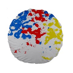 Paint Splatter Digitally Created Blue Red And Yellow Splattering Of Paint On A White Background Standard 15  Premium Round Cushions by Nexatart