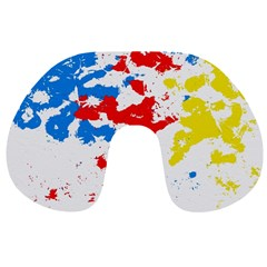 Paint Splatter Digitally Created Blue Red And Yellow Splattering Of Paint On A White Background Travel Neck Pillows by Nexatart