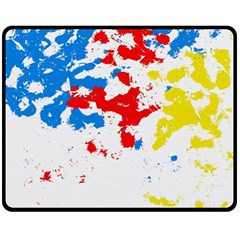 Paint Splatter Digitally Created Blue Red And Yellow Splattering Of Paint On A White Background Double Sided Fleece Blanket (medium)  by Nexatart