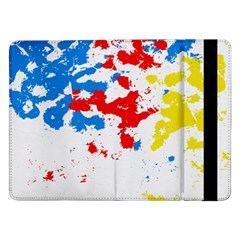 Paint Splatter Digitally Created Blue Red And Yellow Splattering Of Paint On A White Background Samsung Galaxy Tab Pro 12 2  Flip Case by Nexatart