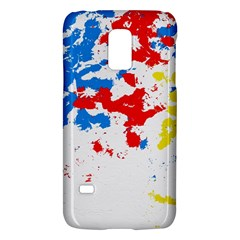 Paint Splatter Digitally Created Blue Red And Yellow Splattering Of Paint On A White Background Galaxy S5 Mini by Nexatart