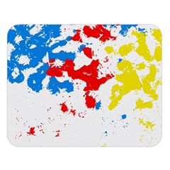 Paint Splatter Digitally Created Blue Red And Yellow Splattering Of Paint On A White Background Double Sided Flano Blanket (large)  by Nexatart