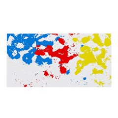 Paint Splatter Digitally Created Blue Red And Yellow Splattering Of Paint On A White Background Satin Wrap by Nexatart