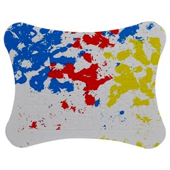 Paint Splatter Digitally Created Blue Red And Yellow Splattering Of Paint On A White Background Jigsaw Puzzle Photo Stand (bow) by Nexatart