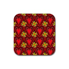 Digitally Created Seamless Love Heart Pattern Rubber Square Coaster (4 Pack)  by Nexatart